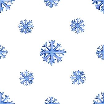 Naadloos kerstmispatroon met sneeuwvlokken op een witte vectorillustratie als achtergrond