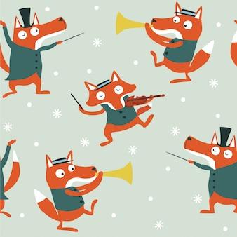 Naadloos kerstmispatroon met vossen die muziek spelen.