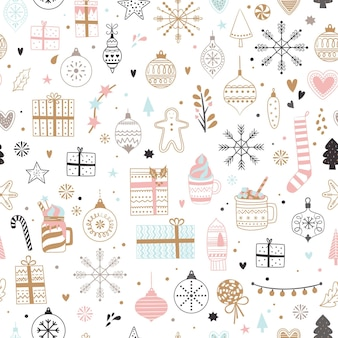 Naadloos kerstpatroon kerstmis en winter