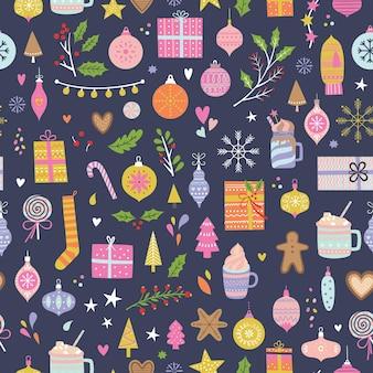 Naadloos kerstpatroon kerstmis en winter Premium Vector