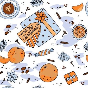 Naadloos kerstpatroon met geschenkdoos, snoep en fruit
