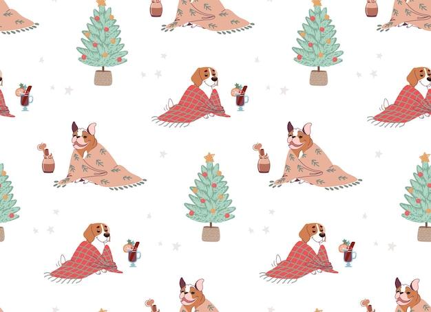 Naadloos kerstpatroon met honden en kerstbomen