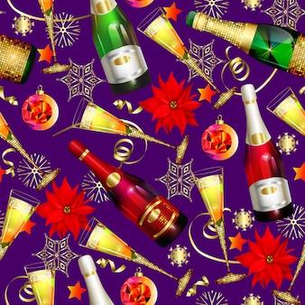 Naadloos kerstpatroon met roze en witte champagne