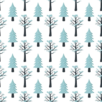 Naadloos kerstpatroon met spar en boom in de sneeuw