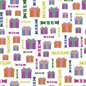 Naadloos kerstpatroon van verschillende geschenkdozen