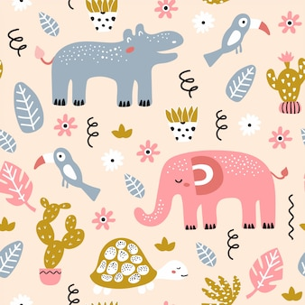 Naadloos kinderachtig patroon met afrikaanse dieren