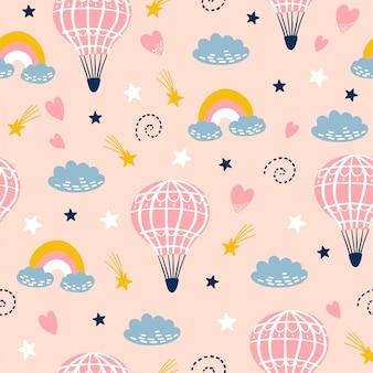 Naadloos kinderachtig patroon met hand getrokken ballons