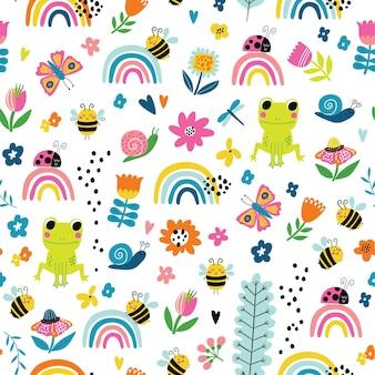 Naadloos kinderachtig patroon met kikkerregenbogen bijen bloemen en slakken in cartoonstijl