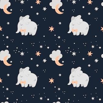 Naadloos kinderachtig patroon met olifanten, sterren en manen