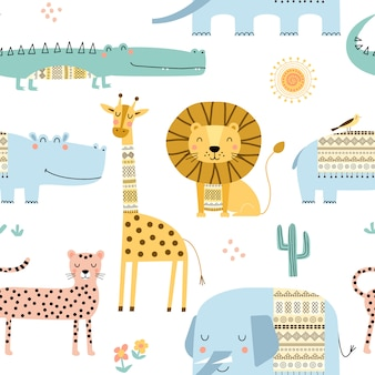 Naadloos kinderachtig patroon met schattige afrikaanse dieren.