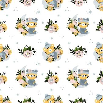 Naadloos kinderachtig patroon met schattige baby tijger dier en bloemen voor pasgeboren jongen of meisje