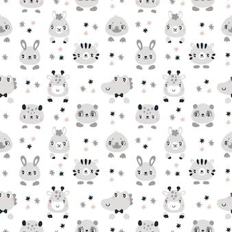 Naadloos kinderachtig patroon met schattige babydieren voor pasgeboren jongen of meisje