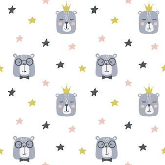 Naadloos kinderachtig patroon met schattige beren.