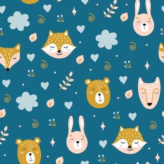 Naadloos kinderachtig patroon met schattige dieren. beer, haas, vos, wolf.
