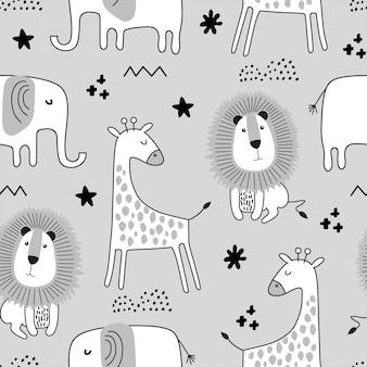 Naadloos kinderachtig patroon met schattige dieren in zwart-witte stijl.