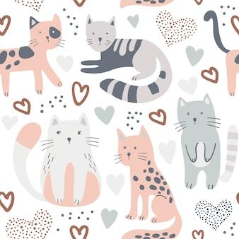 Naadloos kinderachtig patroon met schattige katten.