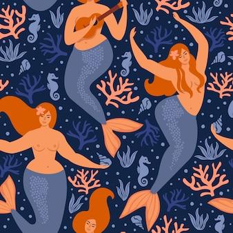 Naadloos kinderachtig patroon met schattige zeemeerminnen