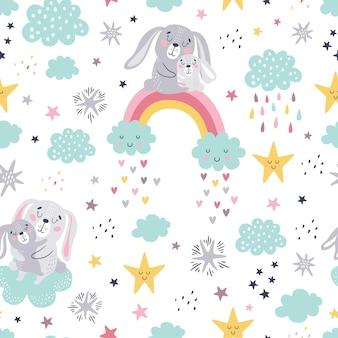 Naadloos kinderachtig patroon van schattige konijntjes.