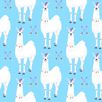 Naadloos kinderpatroon met grappige lama. schattige alpaca stripfiguur voor decoratie kinderkamer, ontwerp kinderkleding, stof, verpakking, textiel, behang