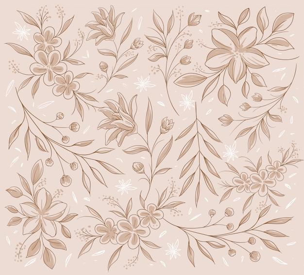Naadloos klassiek bruin geschetst bloemenpatroon