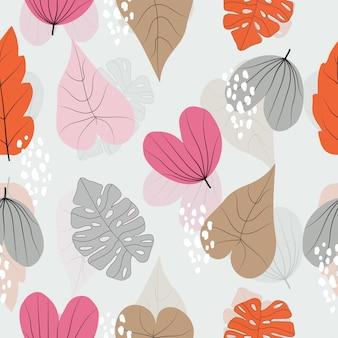 Naadloos kleurrijk bladerenpatroon