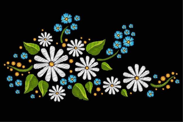 Naadloos kleurrijk borduurwerk met bloemen