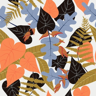 Naadloos kleurrijk tropisch bloemenpatroon
