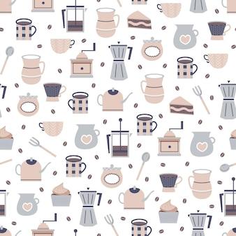Naadloos koffie en theepatroonontwerp