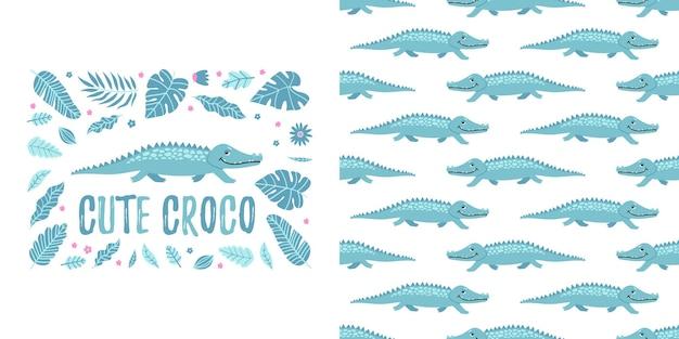 Naadloos krokodil en bladeren leuk pyjamaontwerp