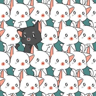 Naadloos leuk kattenpatroon.