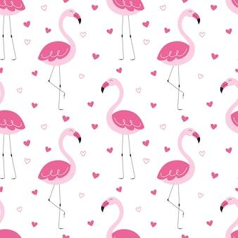 Naadloos leuk patroon, roze flamingo's, liefde, hart, kus.
