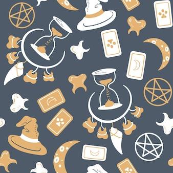 Naadloos magisch patroon met tarotkaart tanden ketting maan zandloper en pentagram