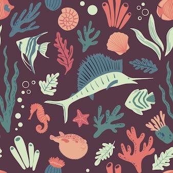 Naadloos marien patroon met vissen oceaanleven en zeedieren nautische achtergrond