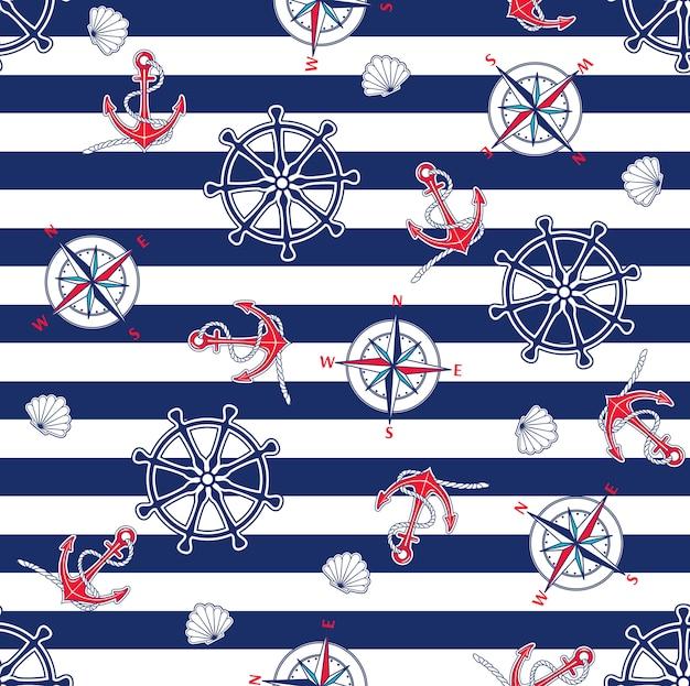 Naadloos marien patroon