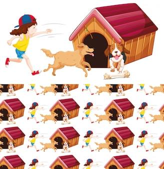 Naadloos meisje en twee honden