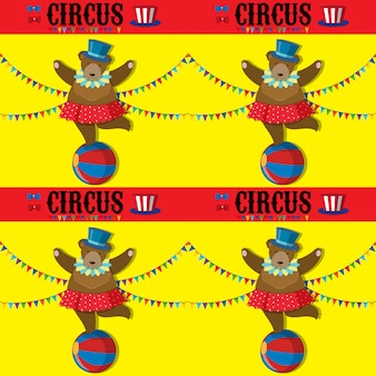 Naadloos met circus beer-sjabloon