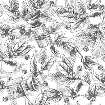 Naadloos met de hand getekend koffiepatroon