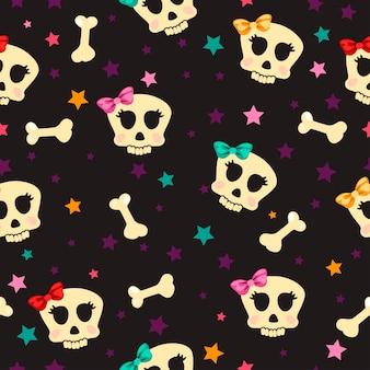 Naadloos met glamoureuze botten en schedel
