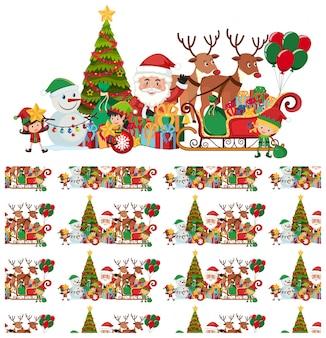 Naadloos met kerstman en rendieren