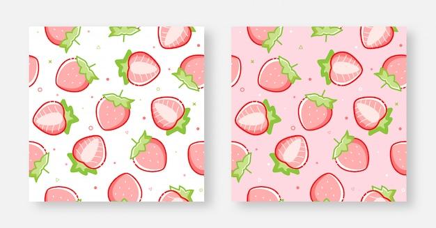 Naadloos mooi aardbeiachtergrondroze en wit