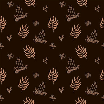 Naadloos mystiek patroon met kristal en palmblad op een bruine achtergrond digitaal papier