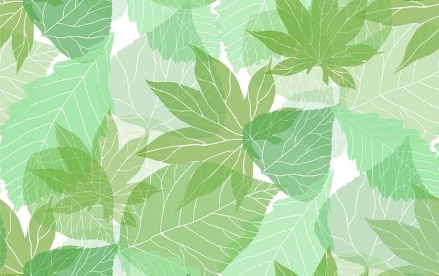 Naadloos natuurlijk patroon met groene doorschijnende bladeren
