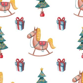Naadloos nieuwjaar patroon met kerstboom geschenken en speelgoed