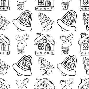 Naadloos nieuwjaarskrabbelpatroon met huisbel en herten