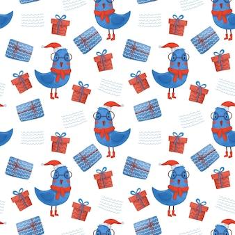 Naadloos nieuwjaarspatroon met geschenken en vogels