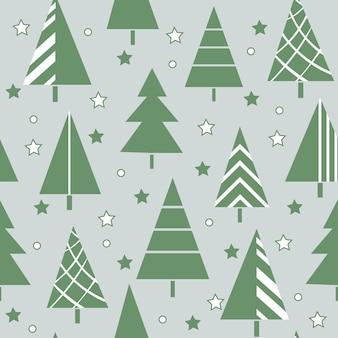 Naadloos nieuwjaarspatroon van groene gestileerde versierde kerstbomen