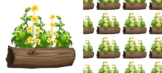 Naadloos ontwerp als achtergrond met bloemen op log