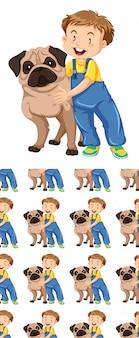Naadloos ontwerp als achtergrond met hond en jongen