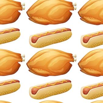 Naadloos ontwerp als achtergrond met hotdog en kip