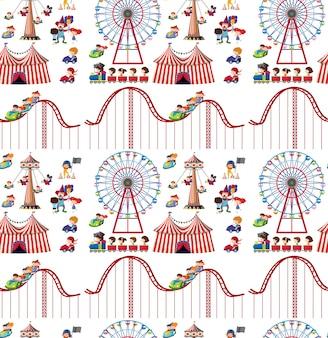 Naadloos ontwerp als achtergrond met kinderen en achtbaan